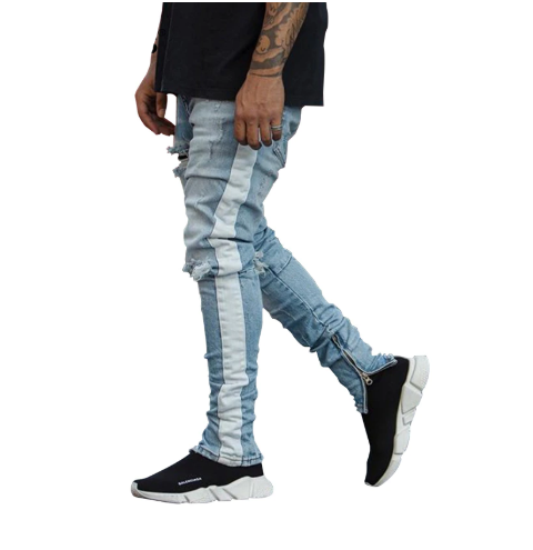 'Vantage' Distressed Denim Jeans with Zips