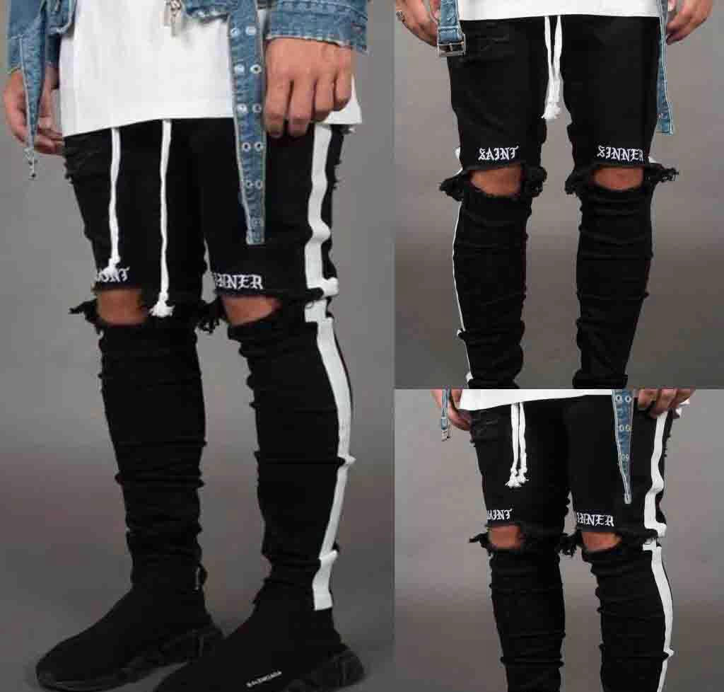 'Saint Sinner' Ripped Skinny Jeans - Black