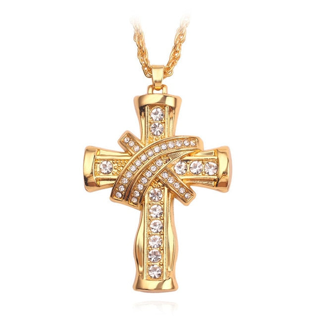 Gold 'Iced Cross' Necklace