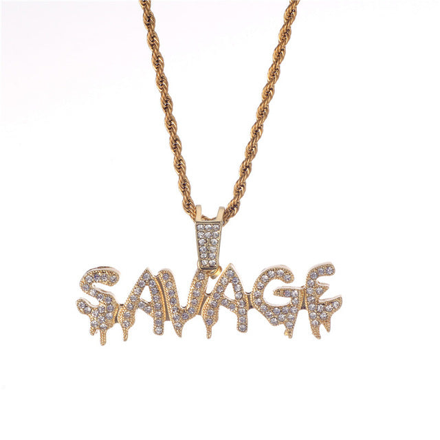 Iced Out 'SAVAGE' Necklace (Gold/Silver)