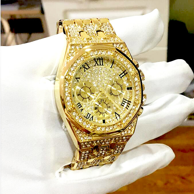 Iced Out 'V' Watch (Gold/Silver)