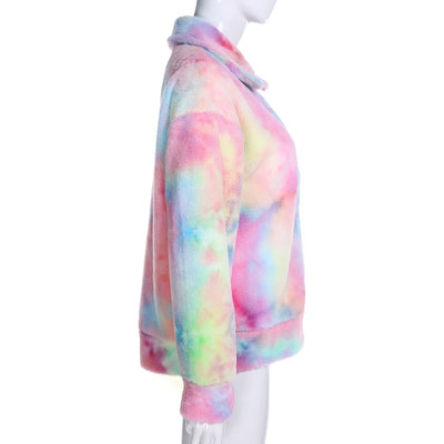 Tie Dye Furry Zip-up Jacket