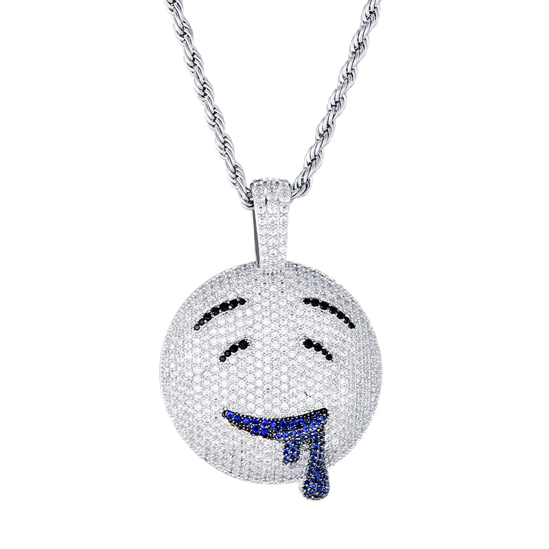 Ice Shark. Drippy Smiley Necklace