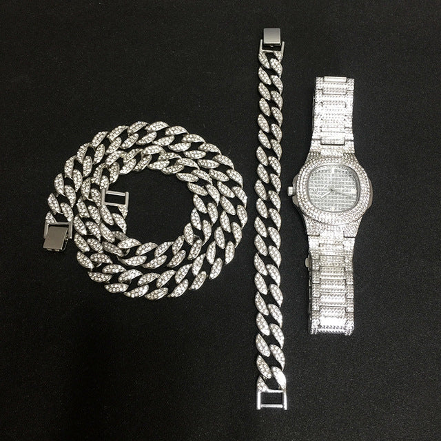 Ice Knight. Iced Out Watch Set (Silver/Gold)