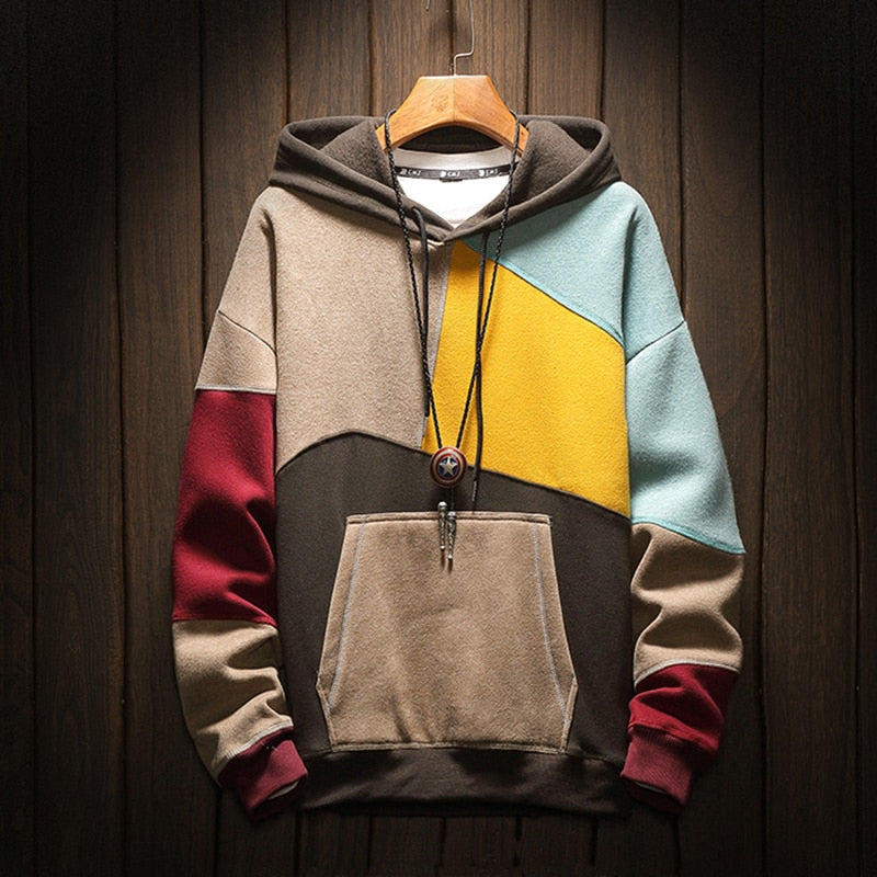 Contrast Patchwork Hoodie