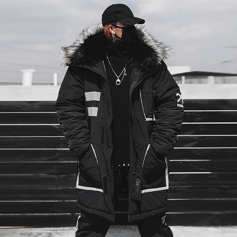 'Visionary' Parka Coat with Fur