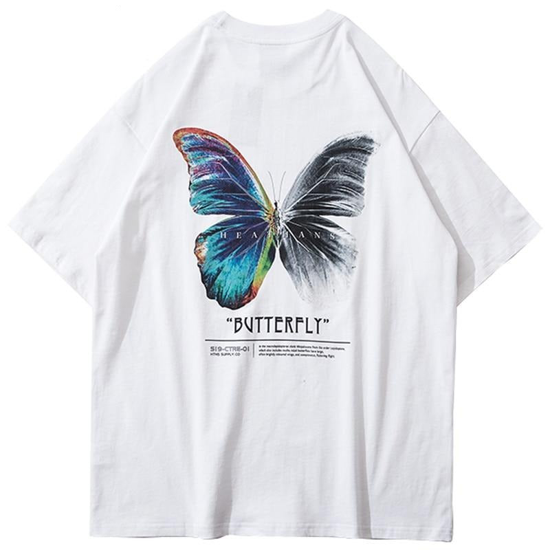 Heathans 'Butterfly' Oversized T-Shirt (Black/White)