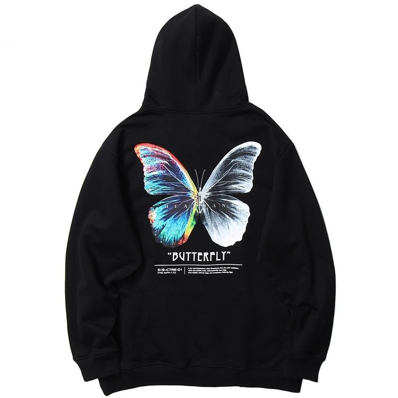 Heathans 'Butterfly' Hoodie (Black/White)