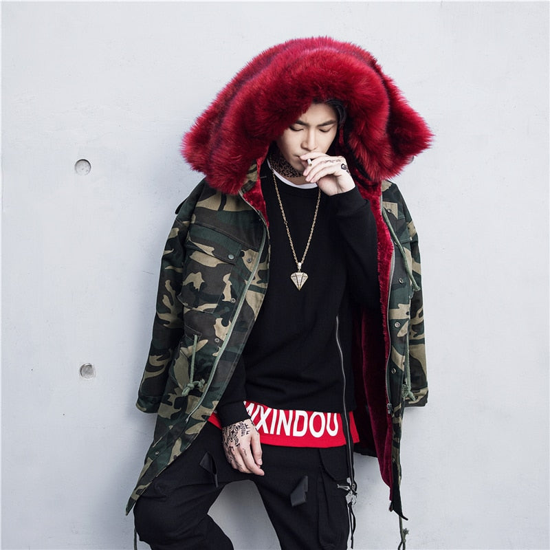 SS 'REDxFur' Parka Coat with Fur