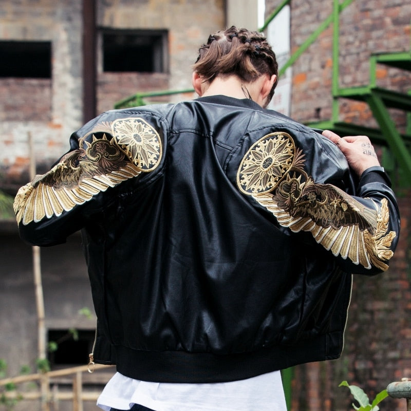 Angel Wings Leather Bomber Jacket