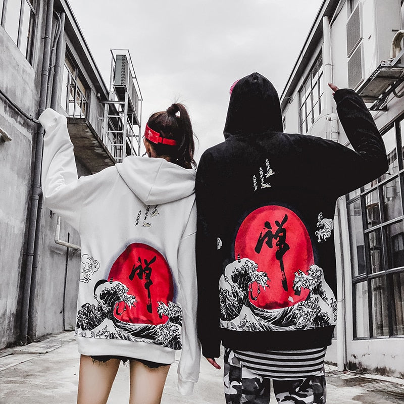 Japanese Wave Hoodie (Black/White)
