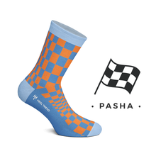 Load image into Gallery viewer, PASHA ORANGE/NAVY socks