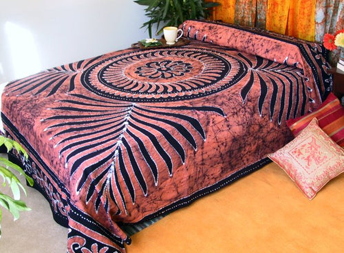 Hand Painted Batik Bedspread from India