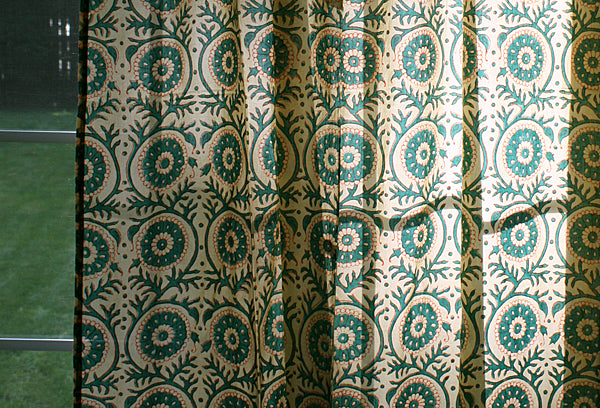 Hand Block Printed Cotton Window Panels from India