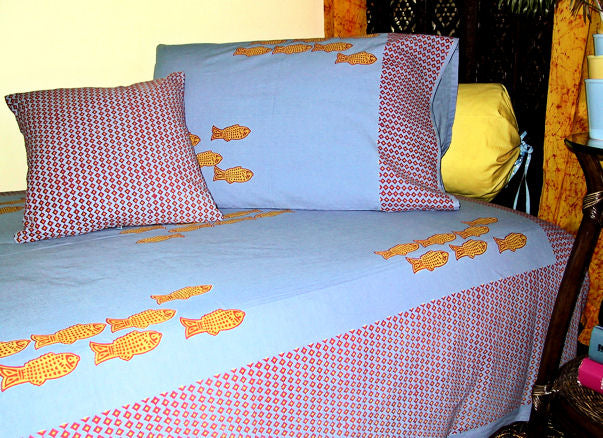 Hand Block Printed Cotton Twin Bedding from India