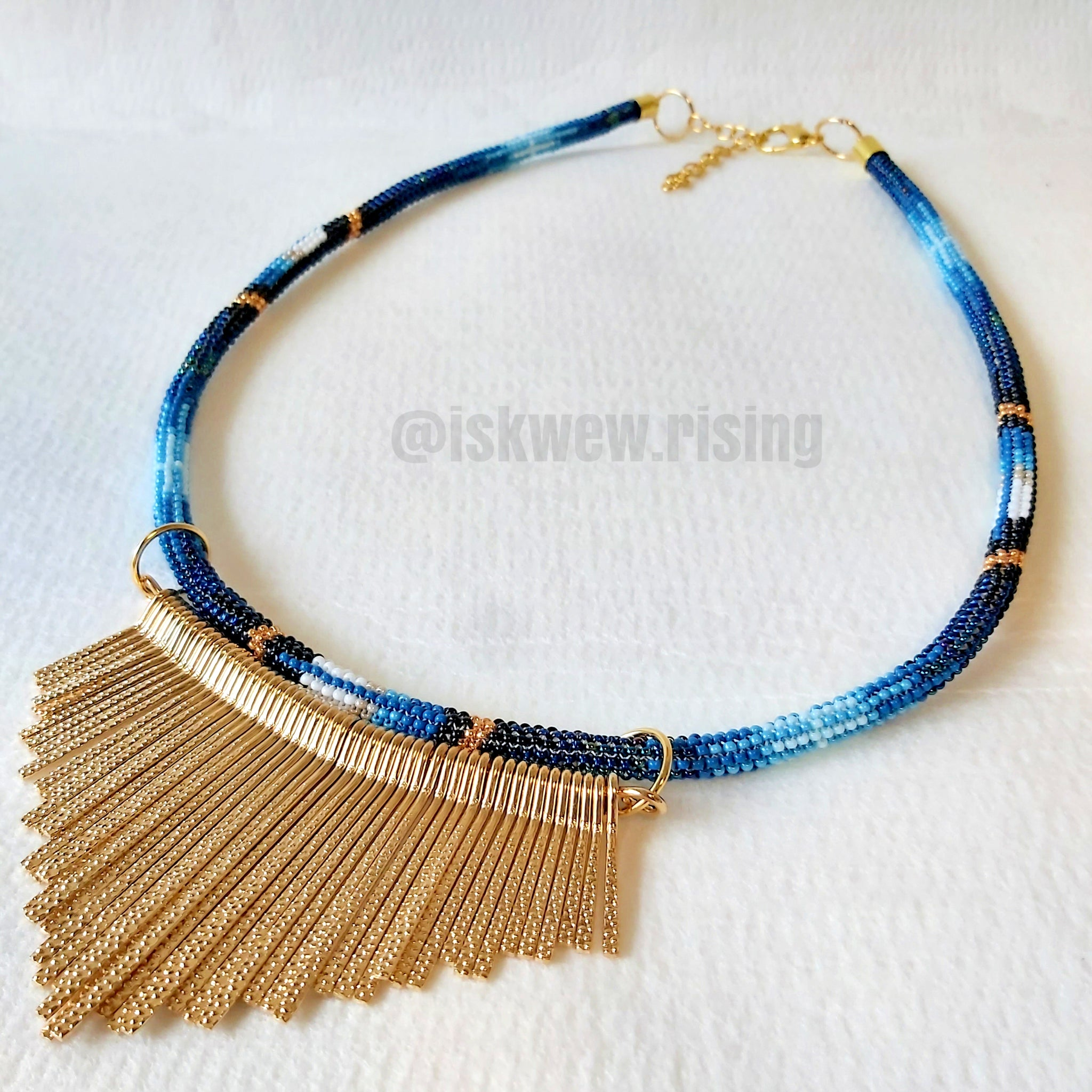 Peyote Stitched Feather Necklace