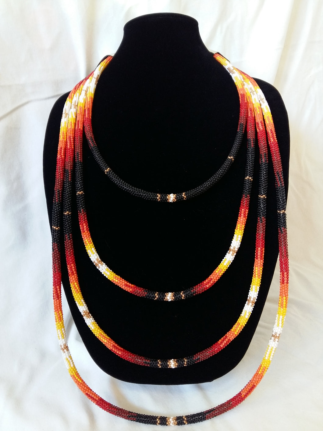 Beaded Peyote Stitched Statement Necklace - Iskotew (Fire) Design