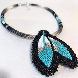Beaded Feather Medallion Necklace