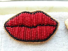 Load image into Gallery viewer, Beaded Tattoo Lip Brooch - Red