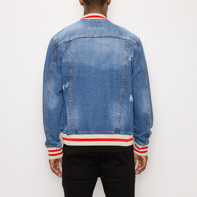 STRIPED RIB DENIM JACKET - INDIGO