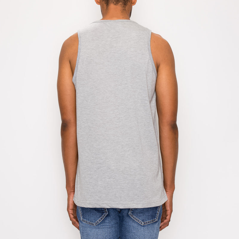 ESSENTIAL STRAIGHT HEM LONG LENGTH TANK TOP - GREY