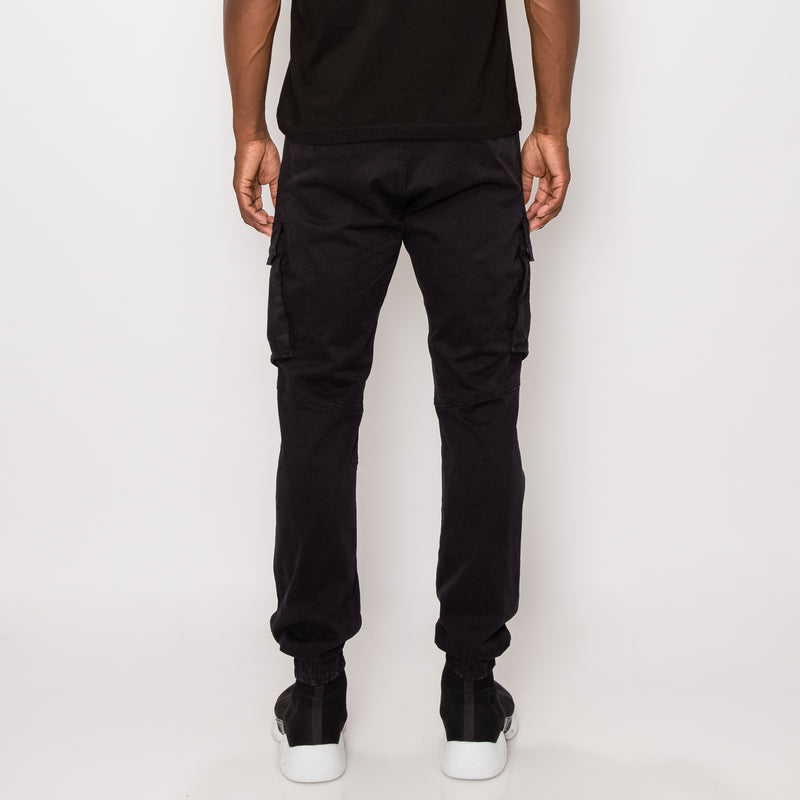 URBAN CARGO JOGGER PANTS - JET BLACK