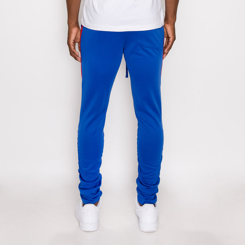 Scrunched Bungee Double Striped Track Pants - ROYAL BLUE