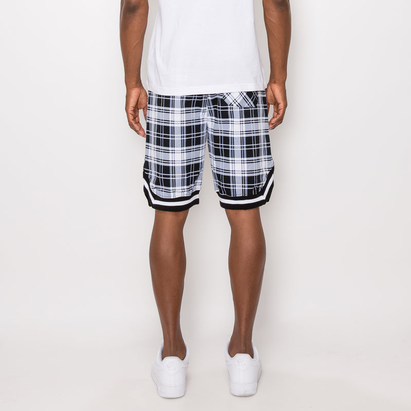 PLAID BASKETBALL SHORTS - WHITE