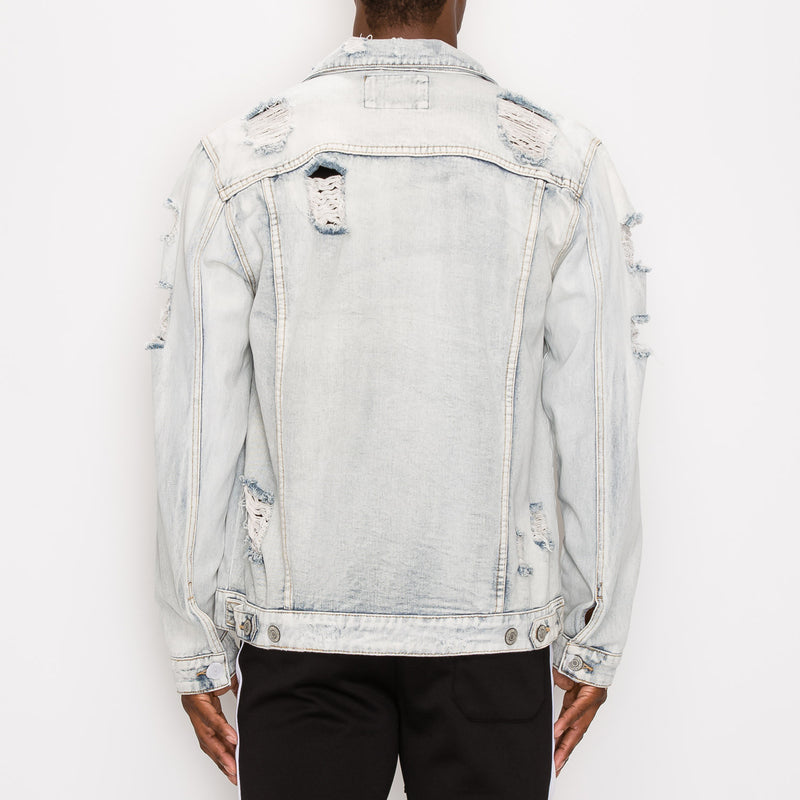 DISTRESSED FADED DENIM JACKET - LT INDIGO
