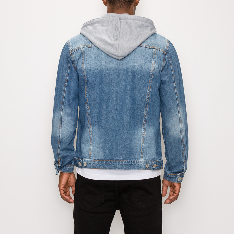 DETACHABLE HOOD DENIM JACKET - INDIGO