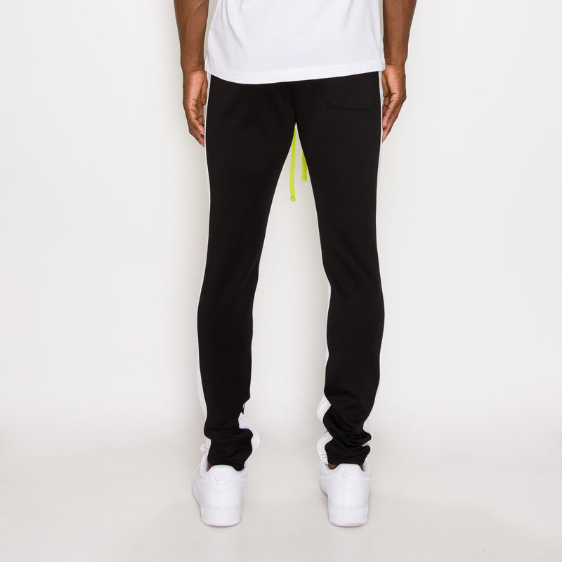 TRI COLOR BLOCKED TRACK PANTS - FROZEN YELLOW