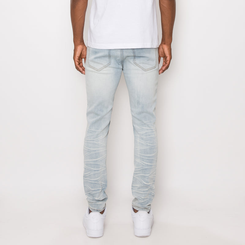 CREASED BIKER DENIM JEANS - CLOUD BLUE