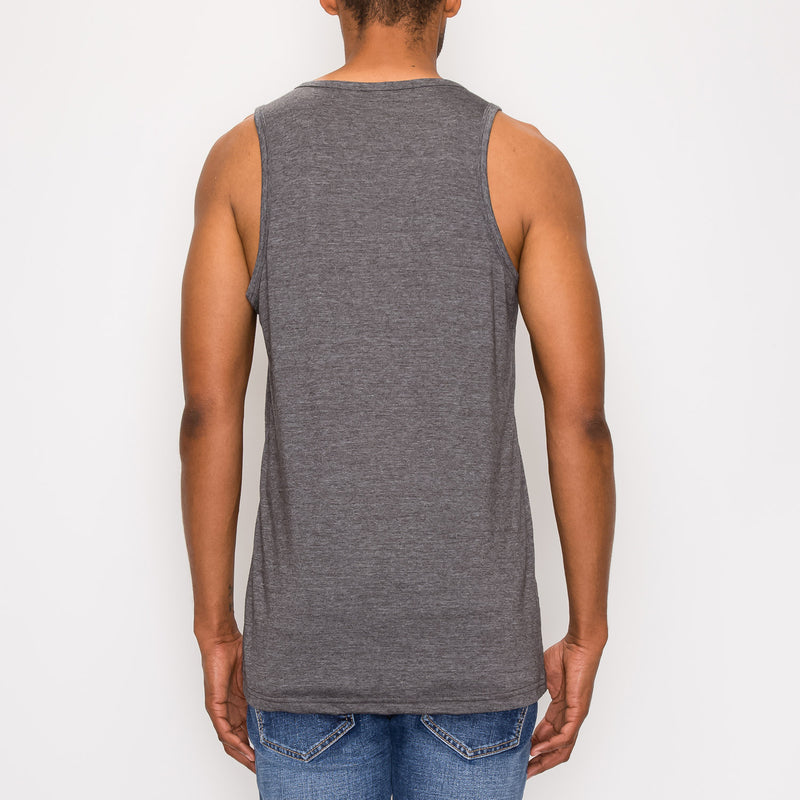 ESSENTIAL STRAIGHT HEM LONG LENGTH TANK TOP - CHARCOAL