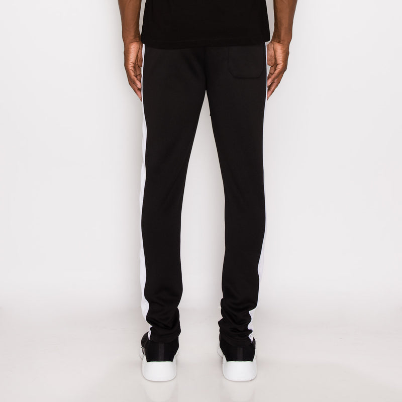 SKINNY FIT STRIPED TRACK PANTS - BLACK / WHITE