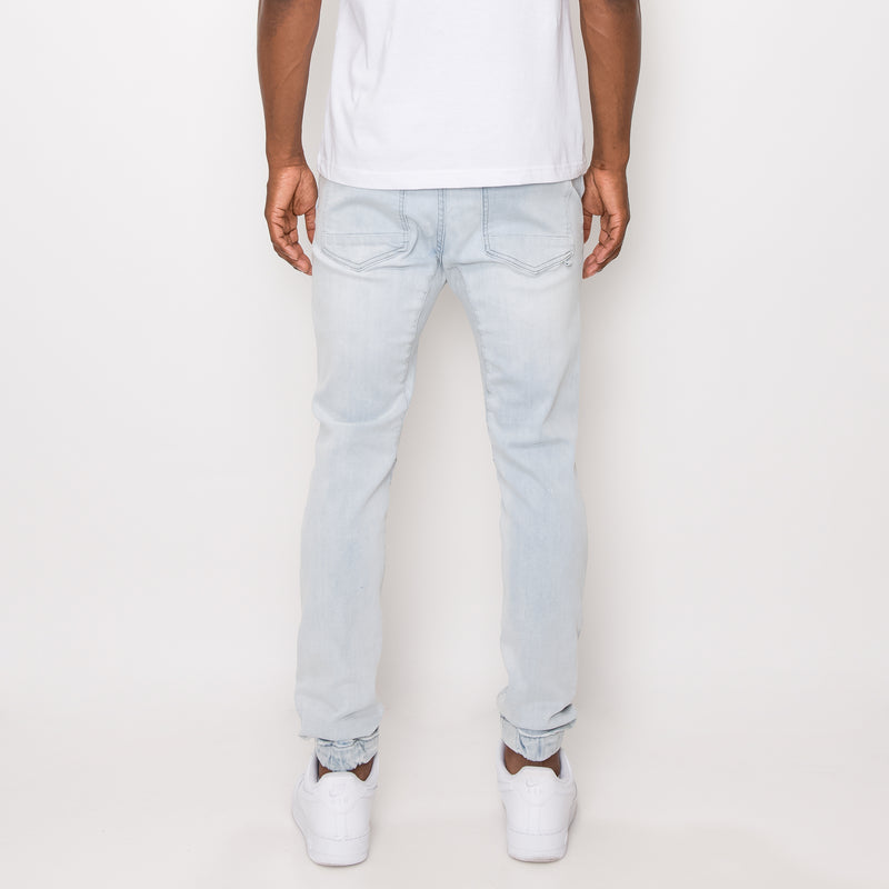 DISTRESSED SKINNY JOGGER PANTS - ICE