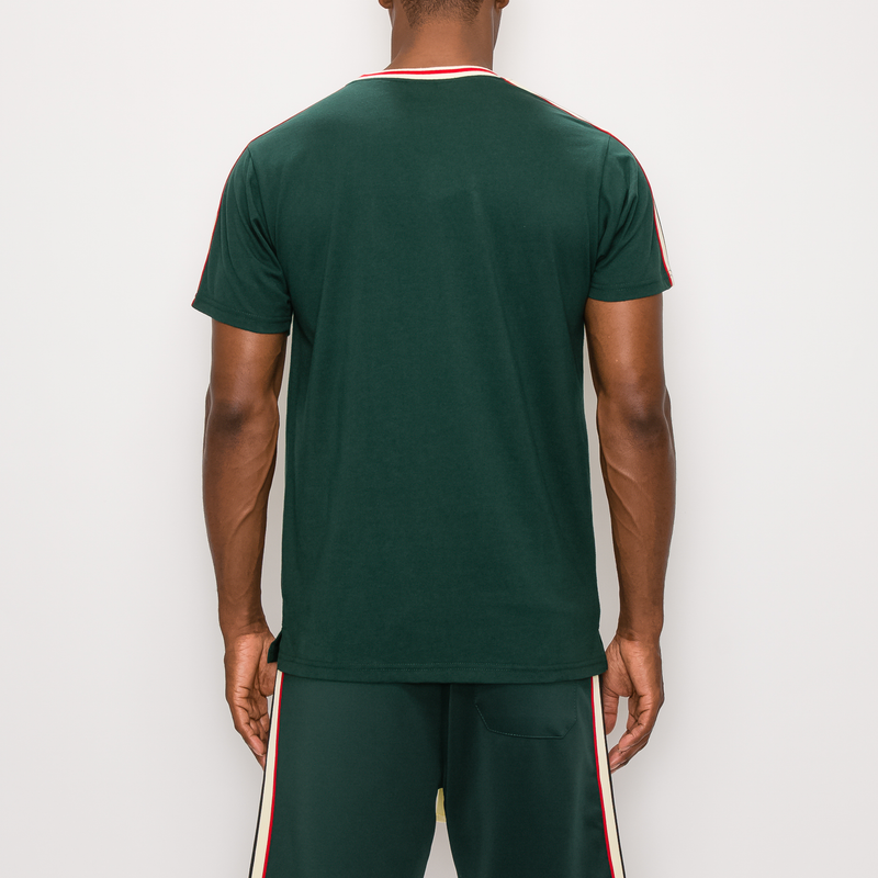 SIDE STRIPE TRACK T-SHIRTS - GREEN