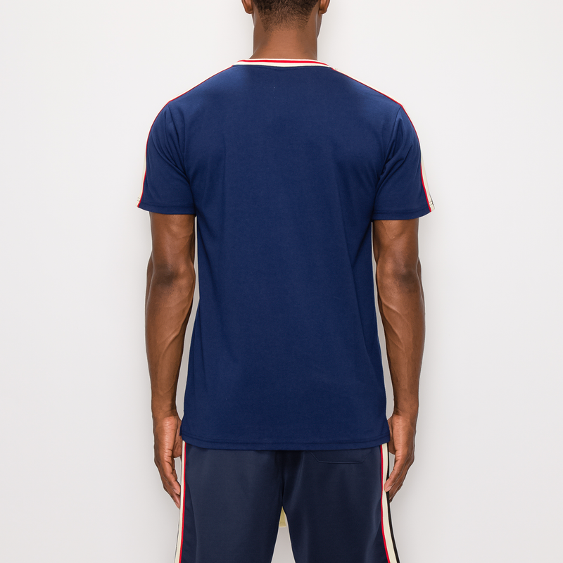 SIDE STRIPE TRACK T-SHIRTS - NAVY
