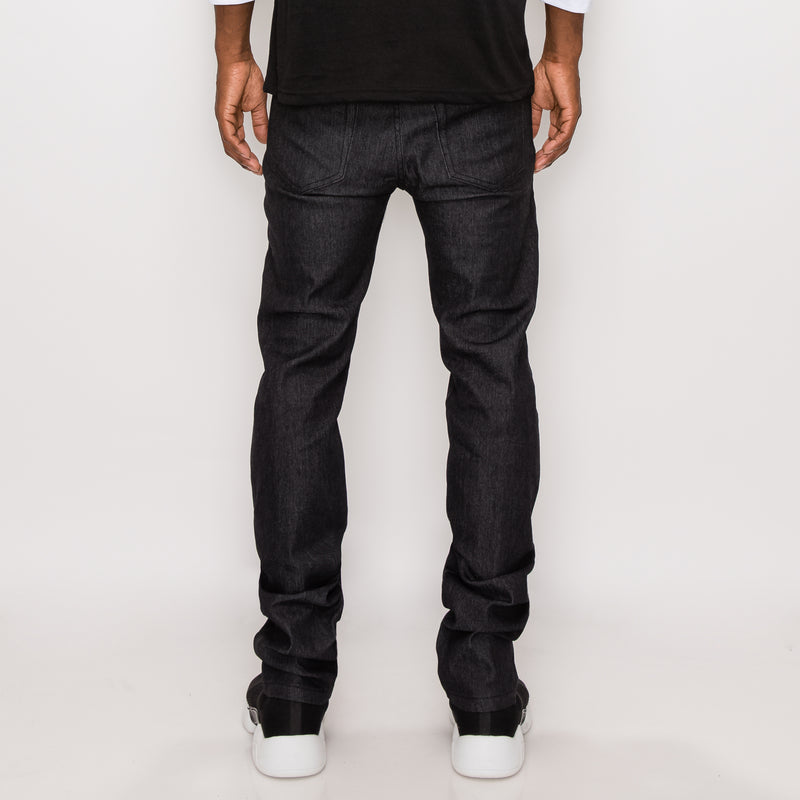 SKINNY RAW DENIM JEANS - BLACK