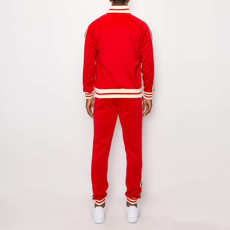 SIDE STRIPE TRACK SUITS - RED