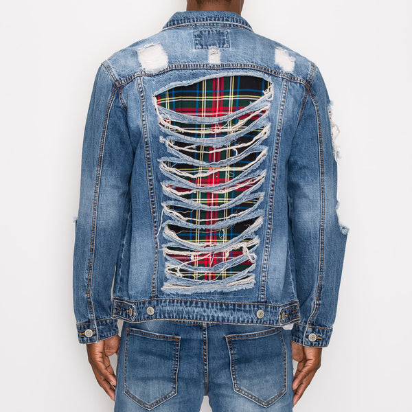 DISTRESSED PLAID DENIM JACKET - INDIGO
