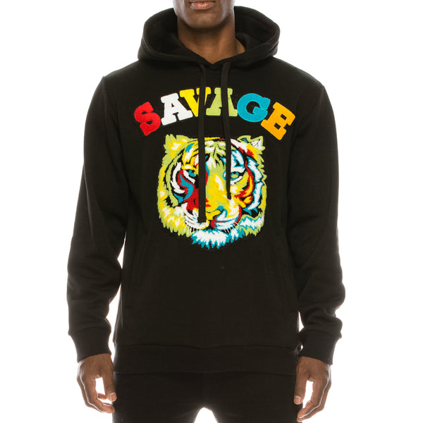 COLORFUL TIGER FLEECE PULLOVER HOODIE - BLACK