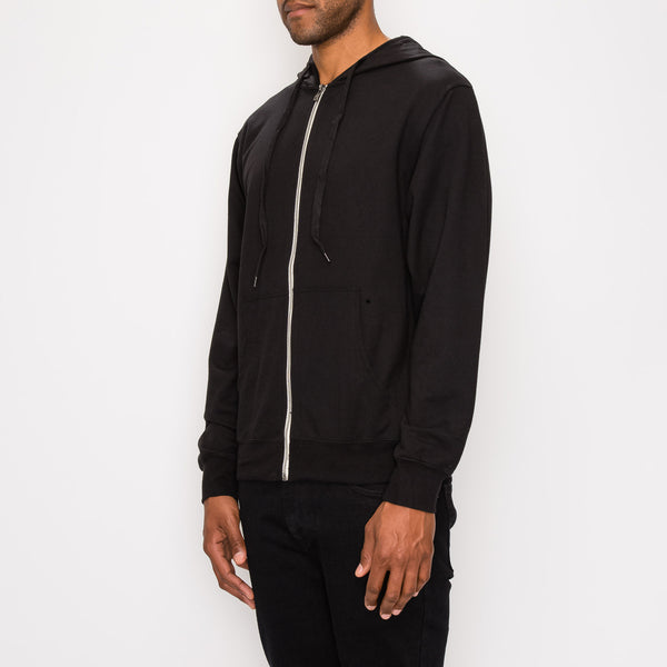FRENCH TERRY ZIP DOWN HOODIE - BLACK