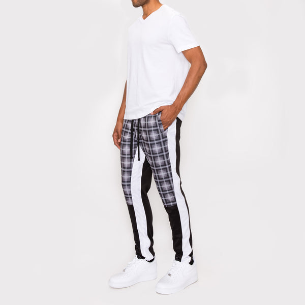 Plaid Track Pants -BLACK PLAID