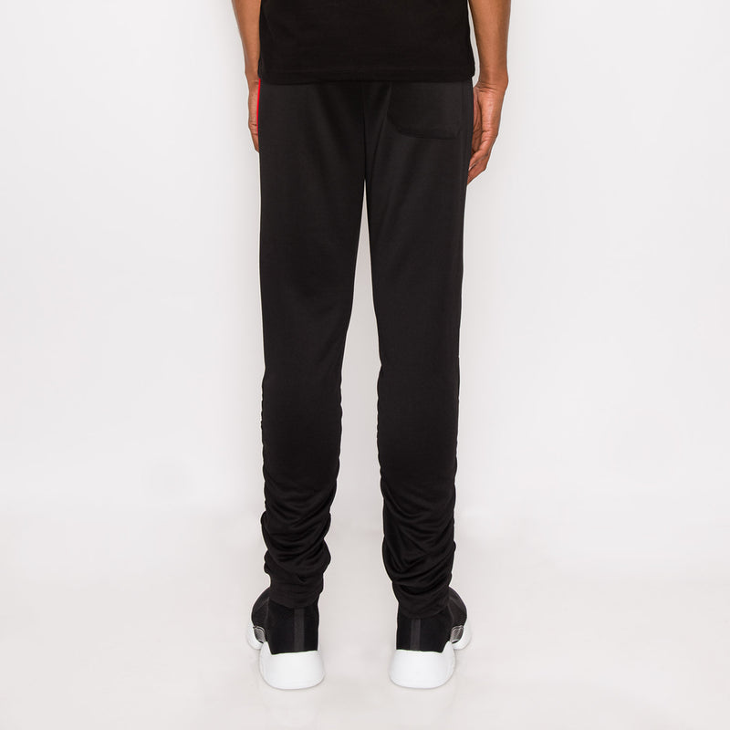 Scrunched Bungee Double Striped Track Pants - BLACK