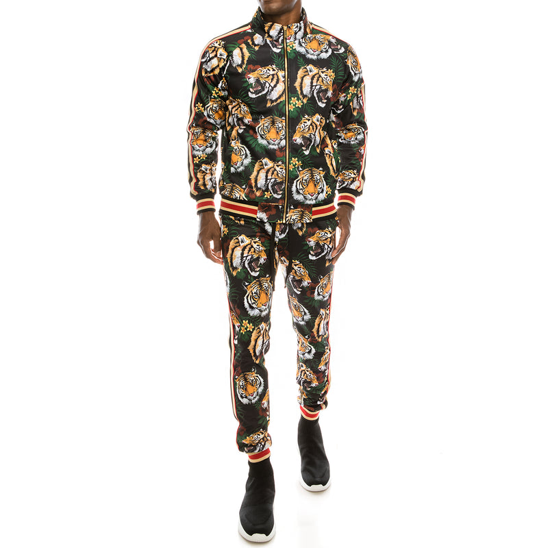 TIGER FLORAL TRACK SUITS - BLACK