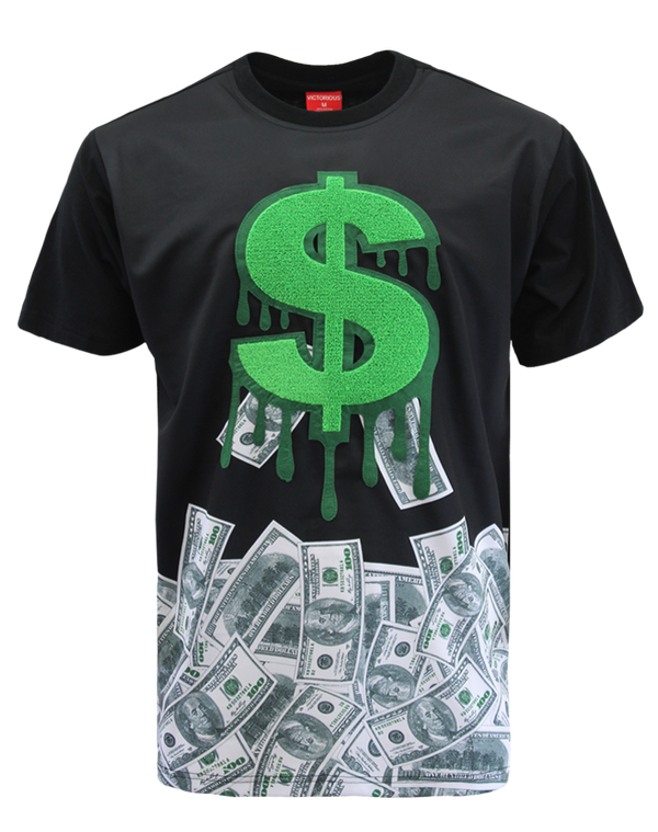 CHENILLE DOLLAR SIGN T-SHIRTS - BLACK