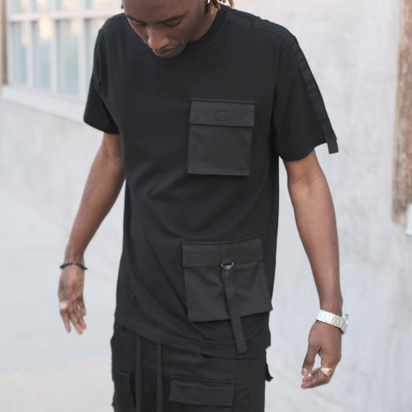 DOUBLE POCKET UTILITY T-SHIRTS - BLACK