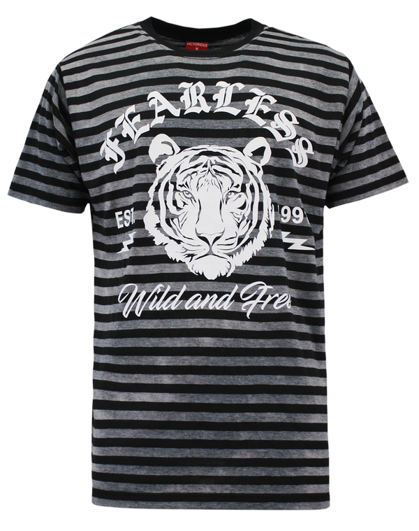 HORIZONTAL TIE DYE TIGER T-SHIRT - BLACK