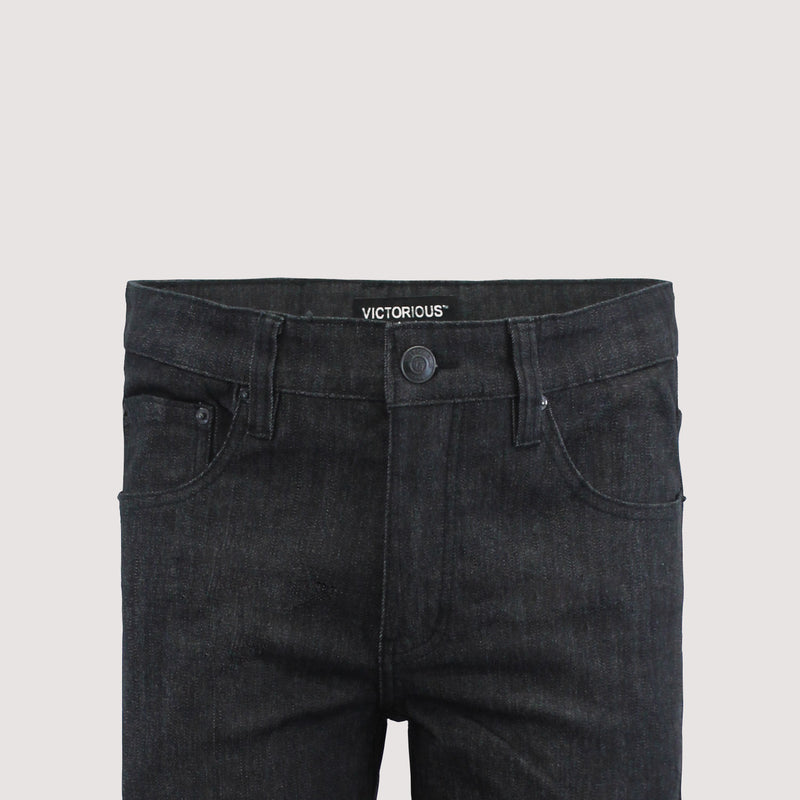 SLIM RAW DENIM JEANS - BLACK / BLACK