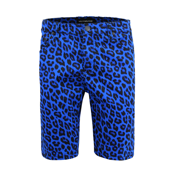LEOPARD PRINT SHORTS - BLUE